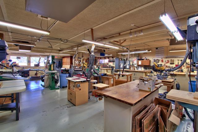 The arts and crafts building is where residents can work in the woodshop, create stained glass and ceramics, and paint.