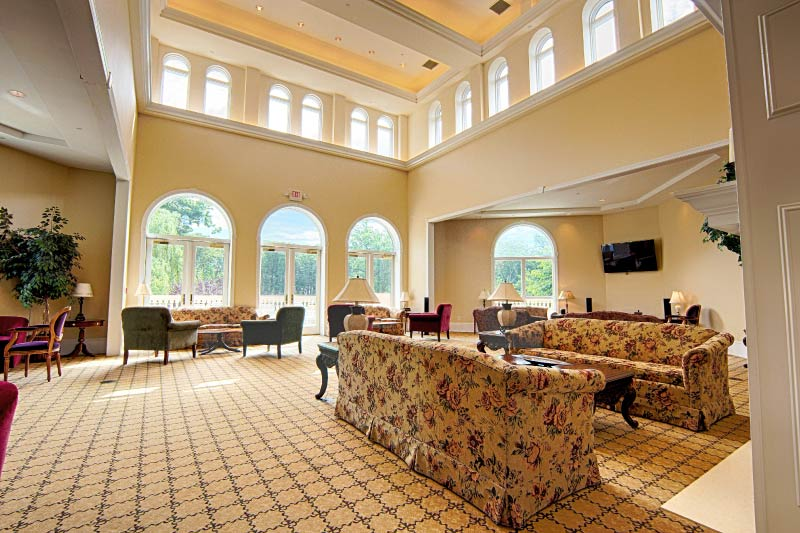 The lounge within the 26,000 square-foot clubhouse at Fox Hill.