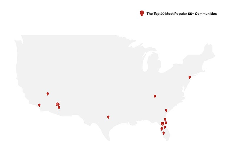 A gray map of the United States with red pins marking the locations of the top 20 most popular 55+ communities for 2020