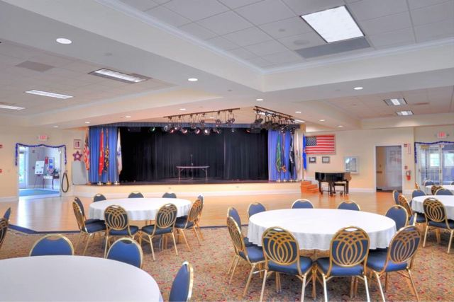 A ballroom is just one of the many social spaces that hosts fun events and activities in Oak Point.