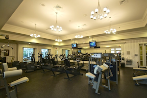 A luxurious fitness center offers an elegant setting to exercise in style!