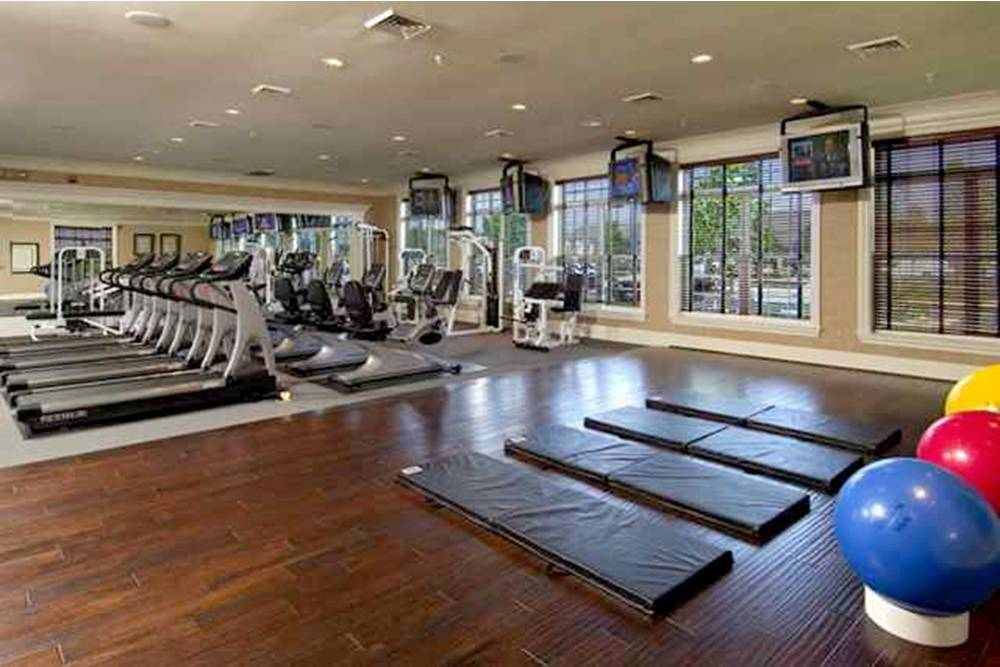 The fitness center at Symphony Village boasts the latest equipment and conveniences.