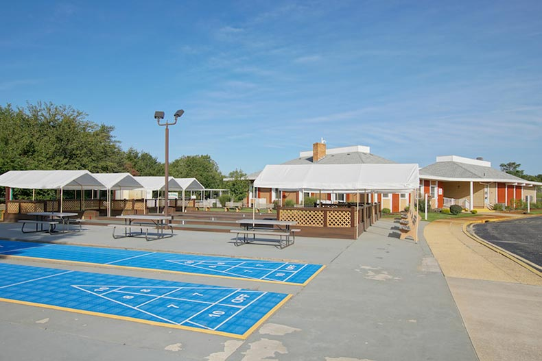 The shuffleboard and bocce ball courts at Holiday City at Berkeley in Toms River, New Jersey