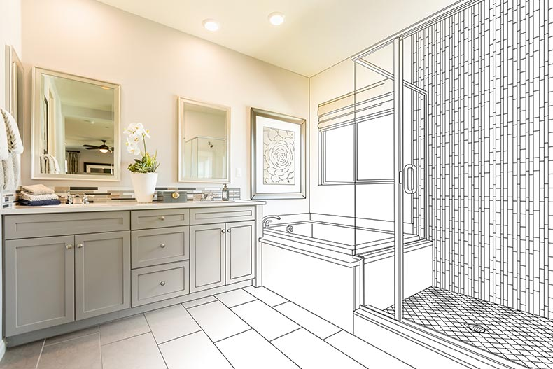 A photo of an en suite bathroom with half the image as a renovation sketch
