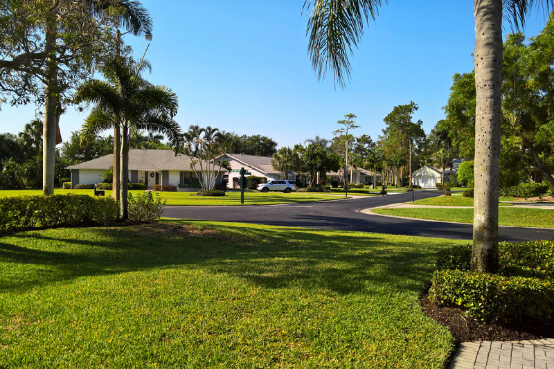 entrance to community with homes and palm trees