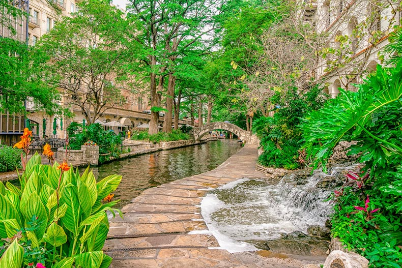Early morning view of the San Antonio Riverwalk in Texas