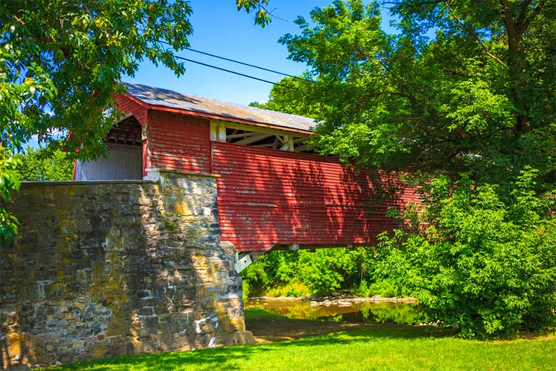 Historic covered bridge in Allentown, PA