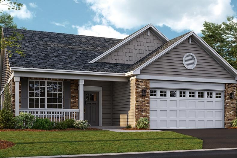 Exterior view of a model home at Andaré at Talamore in Huntley, Illinois