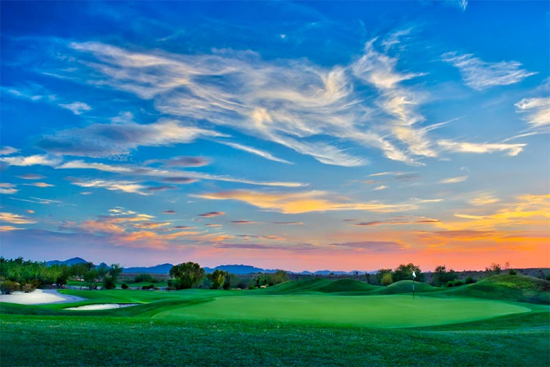 Sunset colors over a Scottsdale, Arizona golf course