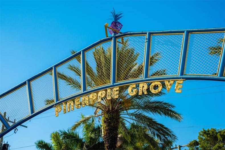 Entrance sign to Pineapple Grove in Delray Beach, Florida