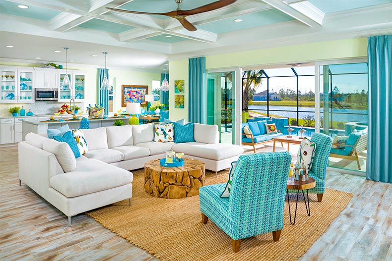 Interior of home in Latitude Margaritaville. Light colors reminiscent of a beach house