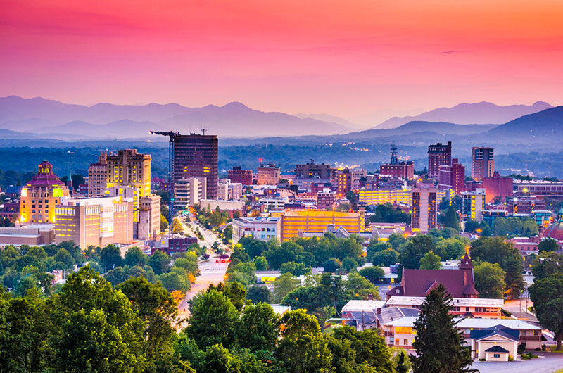 Skyline of Asheville, North Carolina at dusk
