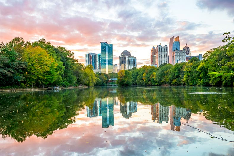 View of the midtown Atlanta skyline from Piedmont Park in the early evening