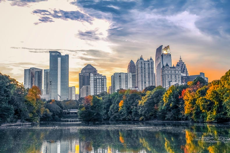 View of the midtown Atlanta skyline from across the pond in Piedmont Park