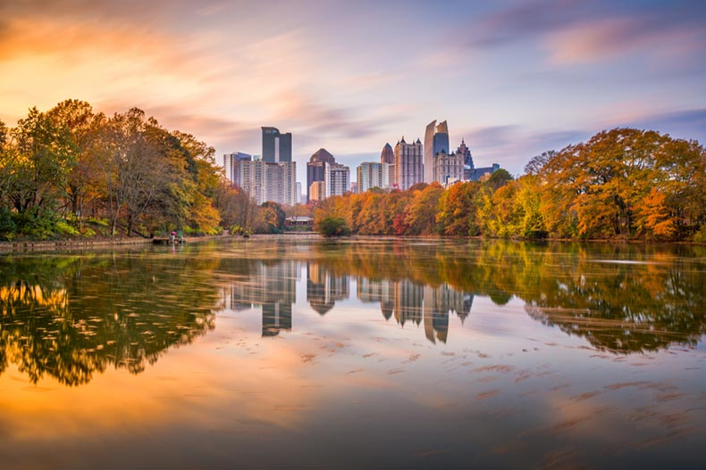 View from Piedmont Park of the Atlanta skyline in autumn on Lake Meer
