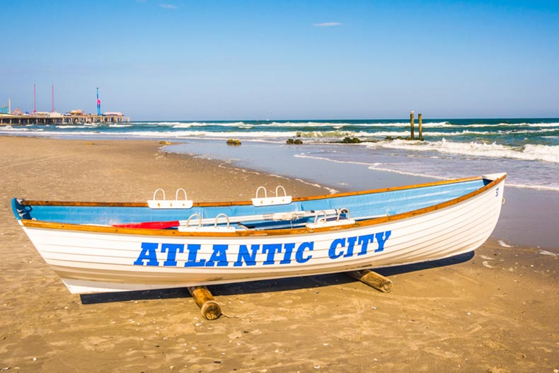 A lifeboat on the beach in Atlantic City, New Jersey