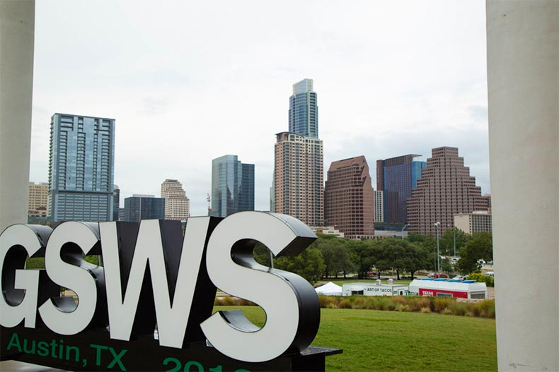 GSWS sign at opening ceremony in Austin, Texas