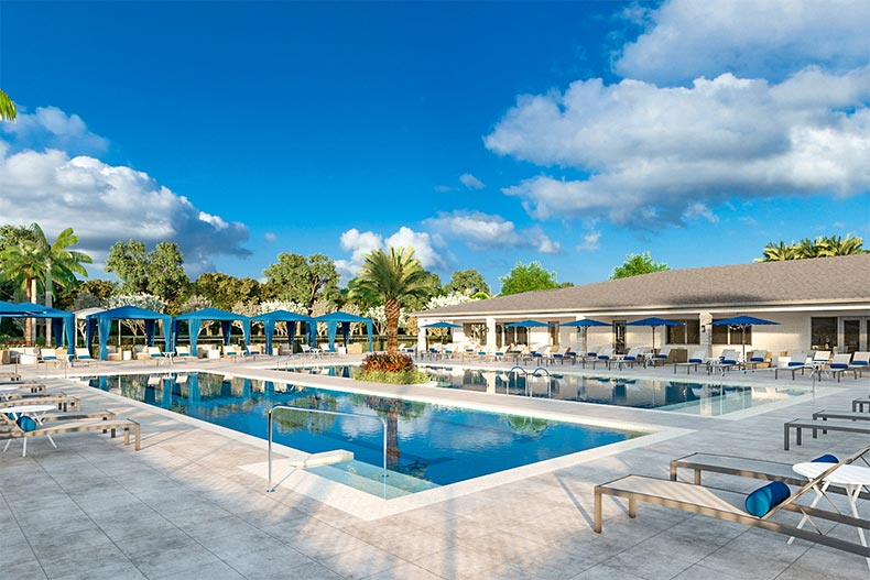 The outdoor pool and patio at Avalon Trails in Delray Beach, Florida