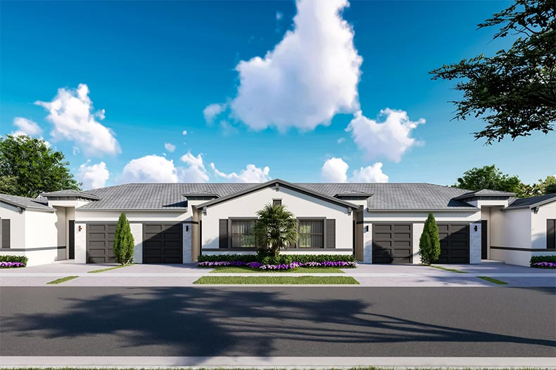 Rendering of attached homes at Avalon Trails in Delray Beach, Florida