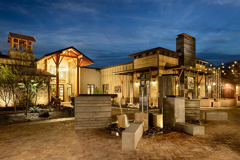View of an outdoor gathering space at Trilogy at Wickenburg Ranch in Wickenburg, Arizona