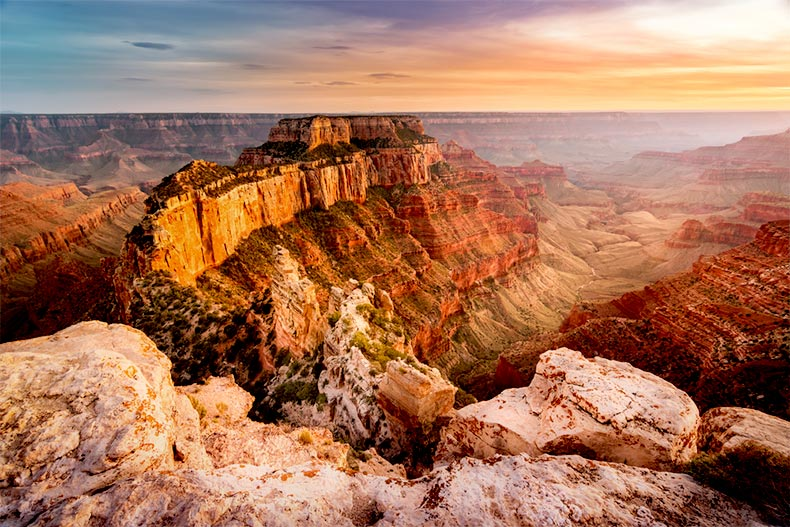 Sunset view of Grand Canyon National Park in Arizona