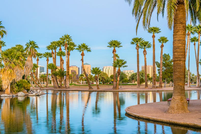 View of buildings in Phoenix, Arizona from across a lagoon surrounded by palm trees in Encanto Park