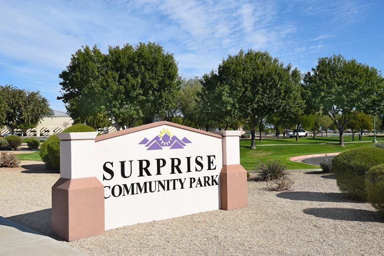 A blue sky over the sign for the Surprise Community Park in Arizona