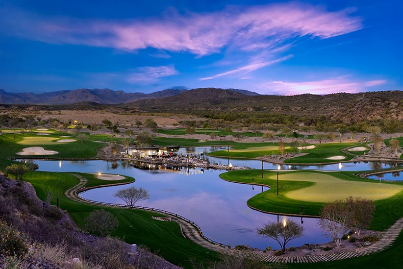 Aerial view at twilight of the golf course at Trilogy at Wickenburg Ranch in Wickenburg, Arizona