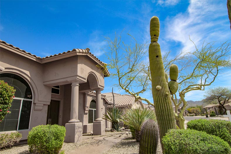 A blue sky over a Southwest style home in Scottsdale, Arizona