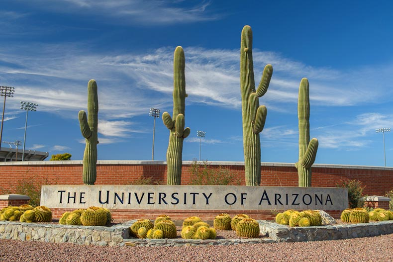 View of the entrance sign to The University of Arizona in Tucson, Arizona