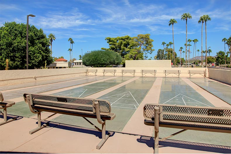 View of the outdoor shuffleboard courts at Fountain of the Sun in Mesa, Arizona