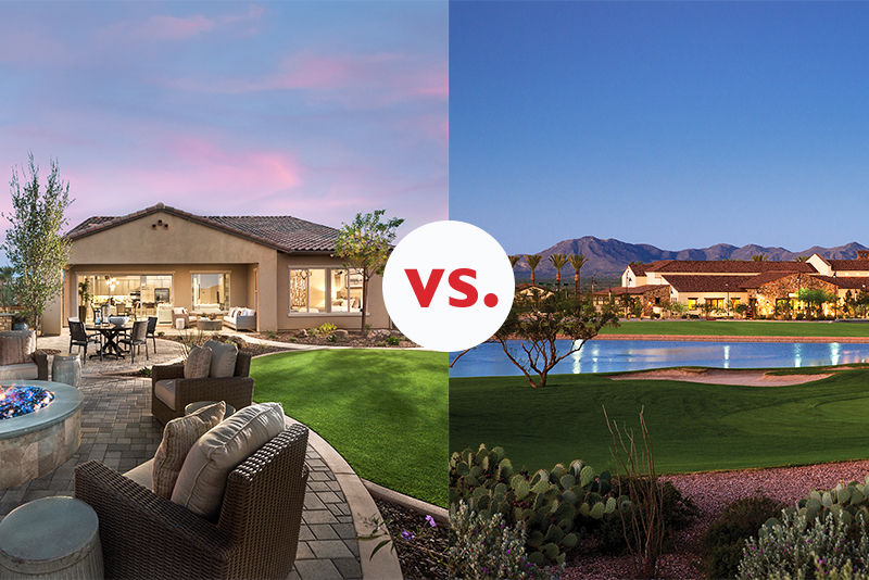 Side-by-side view of buildings in Trilogy at Vistancia and SaddleBrooke Ranch under purple and blue sunsets. VS. sign in the middle