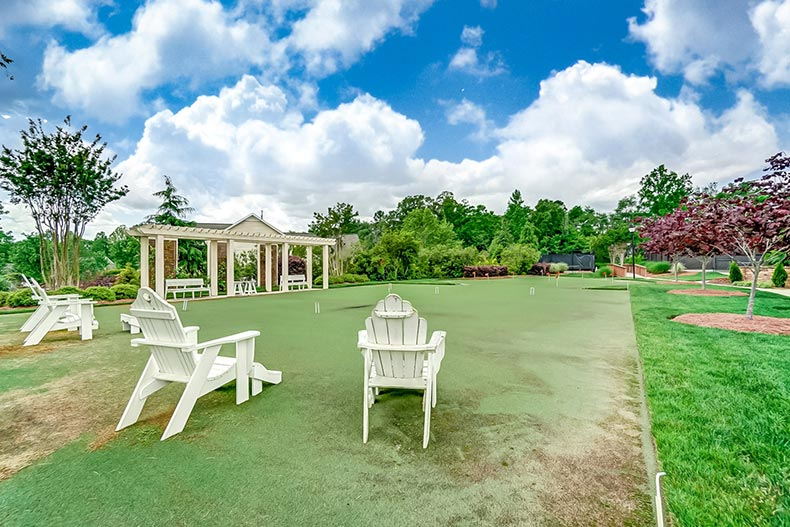 Lounge chairs on the croquet lawn at Bailey's Glen in Cornelius, North Carolina