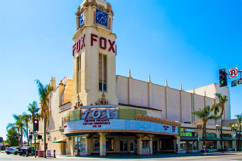 Exterior of Fox Theater is Bakersfield, California
