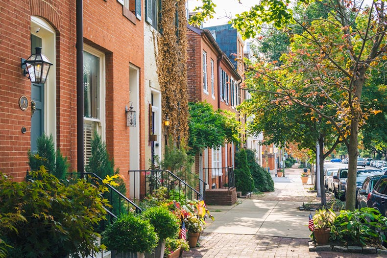 Row houses and potted plants along a street in the Federal Hill neighborhood of Baltimore, Maryland