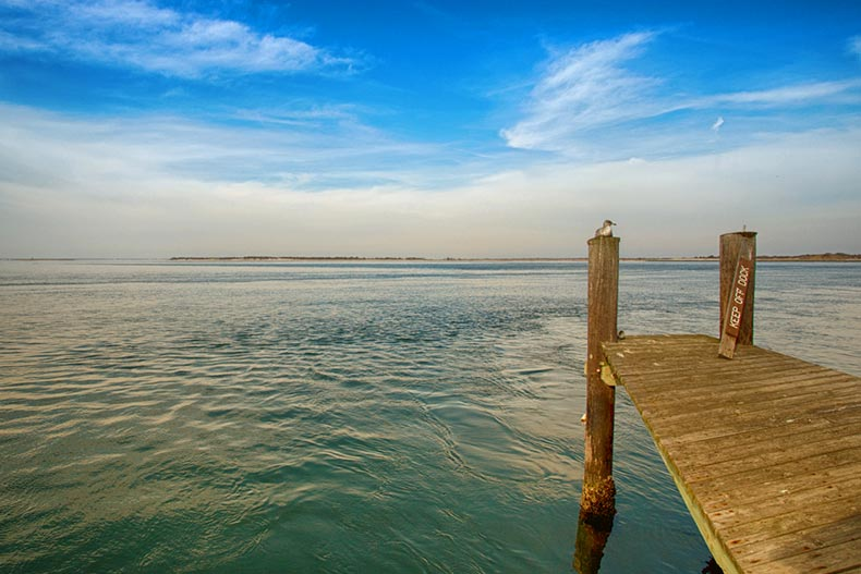 A dock in Barnegat Bay along the coast of Ocean County in New Jersey