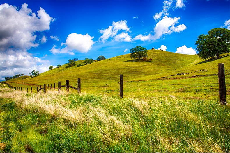 Rolling hills under blue sky in near Fresno, California