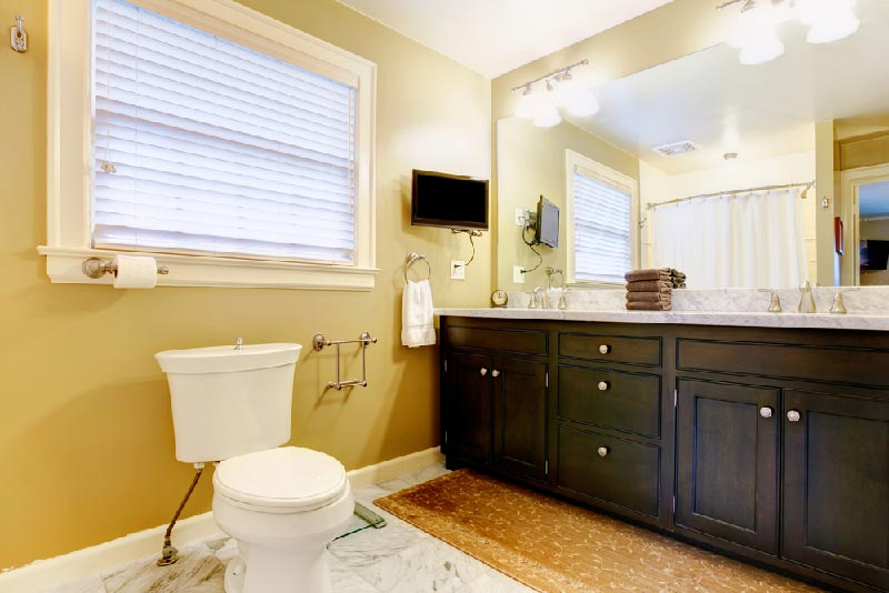 contemporary bathroom with toilet and tv by sinks