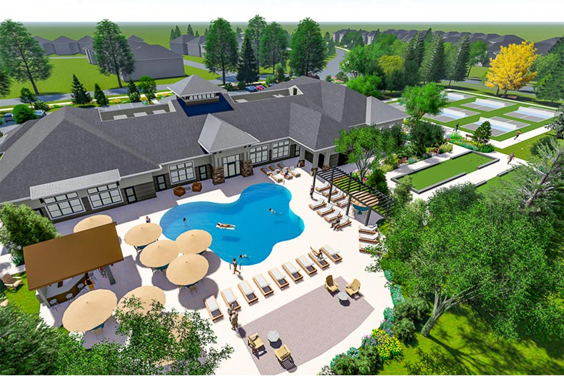 Rendering of the bellwether by Del Webb pool and clubhouse