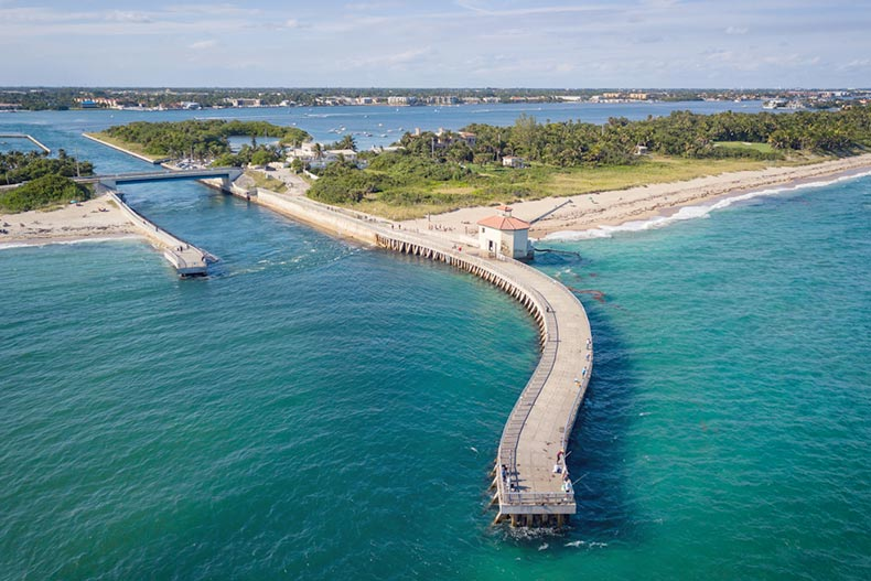 Aerial view of the Boynton Inlet in Florida