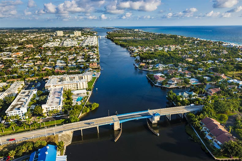 View from the air the Intracoastal Waterway and homes on its shore in Boynton Beach, Florida