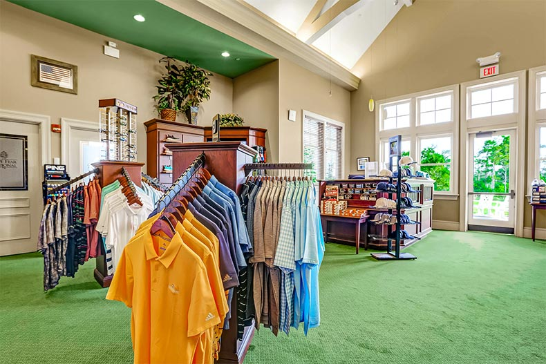 Interior view of the golf pro shop at Brunswick Forest in Leland, North Carolina
