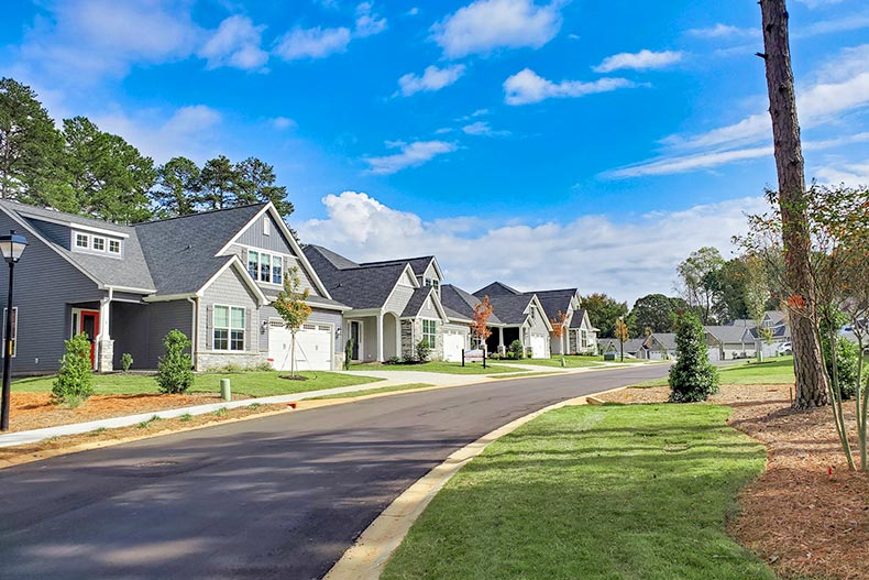 View down a street lined with new homes at Butler Parc in Greenville, South Carolina