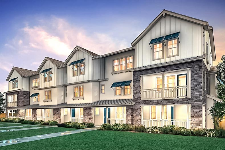 Exterior view of attached homes at Enclave at Mission Falls in Fremont, California
