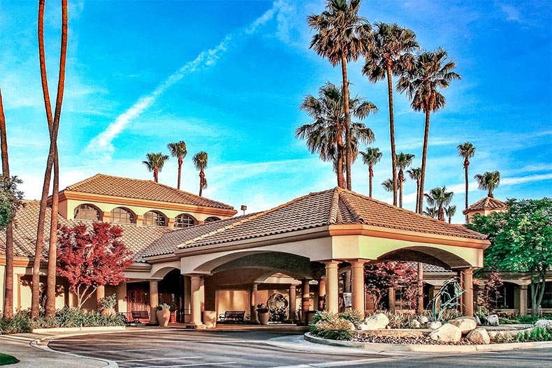 Exterior view of the clubhouse at Sun Lakes Country Club in Banning, California