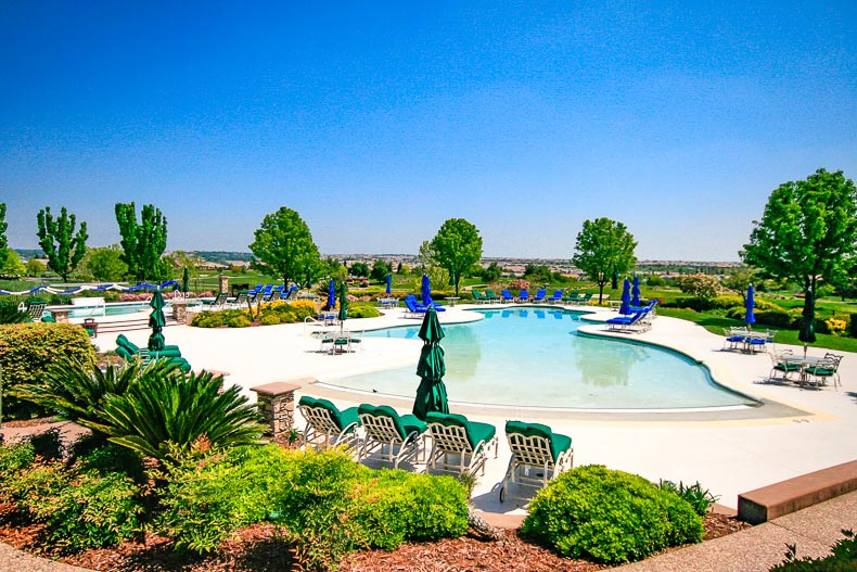 View of the outdoor pool and patio at Sun City Lincoln Hills in Lincoln, California