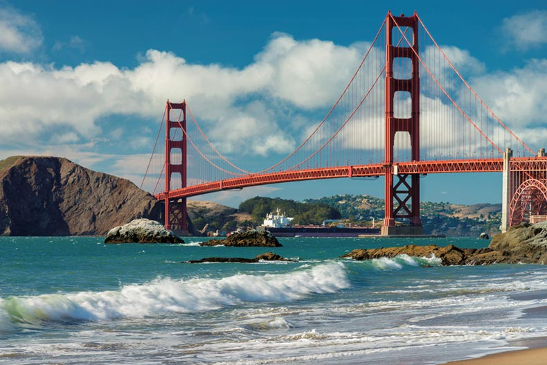 View of the Golden Gate Bridge from a beach in San Francisco, California