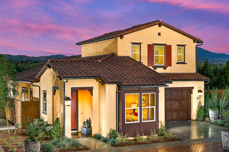 Exterior view of a model home at Travata in Irvine, California