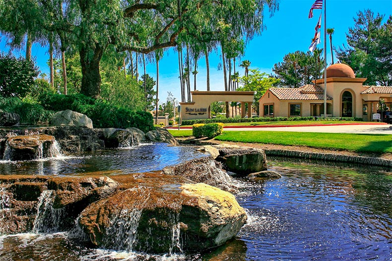 View of a water feature in front of one of the clubhouses at Sun Lakes Country Club in Banning, California