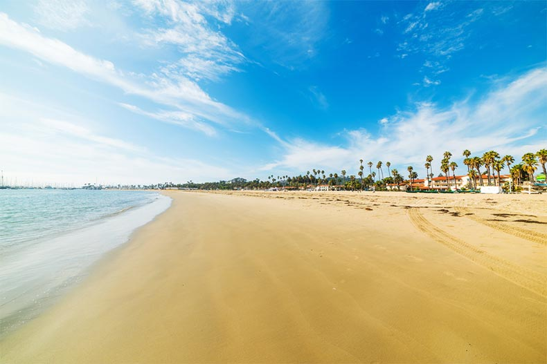 A blue sky over a golden shore in Santa Barbara, California